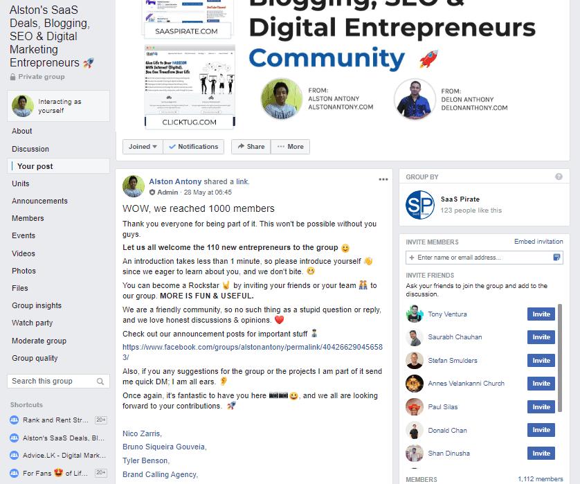 1000 plus members on FB group