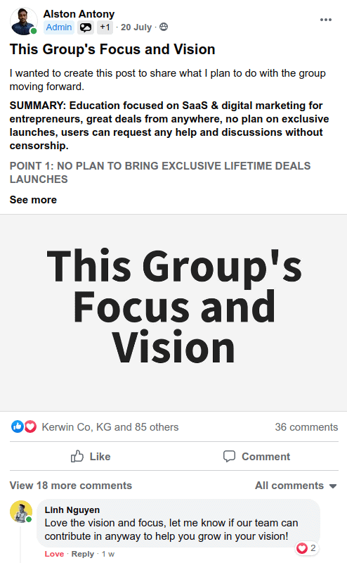 Alston's group focus and vision